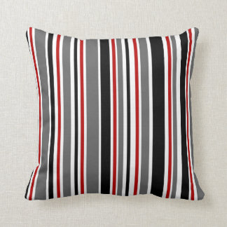 Black, Gray, Red, White, Stripes Throw Pillow