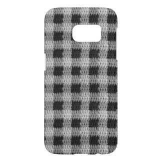 Black Gray Shades Gingham Plaid Pattern Crochet