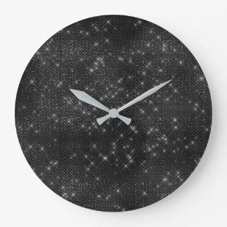 Black Gray Starry Night Sequin  Diamond Sparkly Large Clock