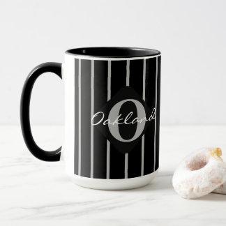 Black & Gray Stripes Coffee Mug-Oakland Mug