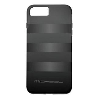 Black Gray Stripes  Pattern Monogram iPhone 8 Plus/7 Plus Case