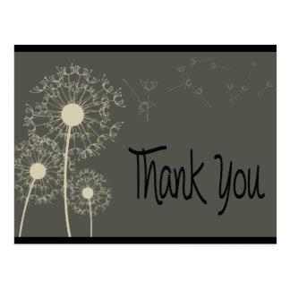 Black & Gray Thank You Dandelion Floral  Post Card