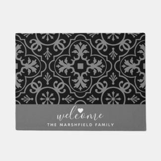 Black Gray Trendy Pattern Welcome Heart Family Doormat