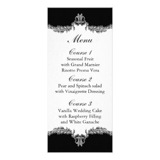 black gray wedding menu rack card