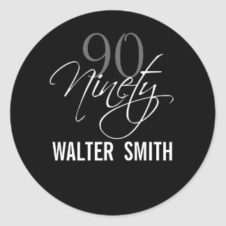 Black Gray White 90th Birthday Party Round Sticker