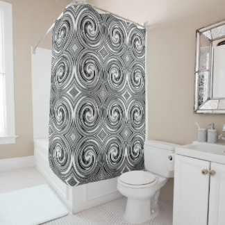 Black Gray White Abstract Swirl Pattern Shower Curtain