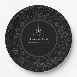 Black Gray & White Halloween Spider LOVE Wedding Paper Plate