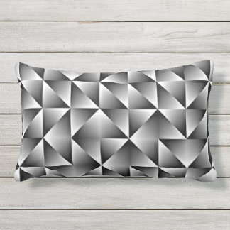 Black Gray White Retro Chic Geometric Squares Outdoor Cushion