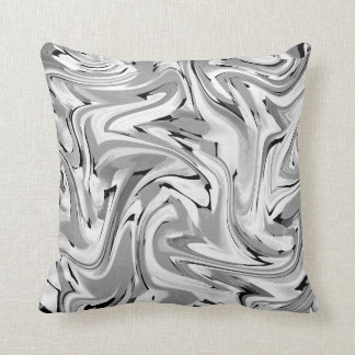 Black Gray White Swirly Abstract Cushion