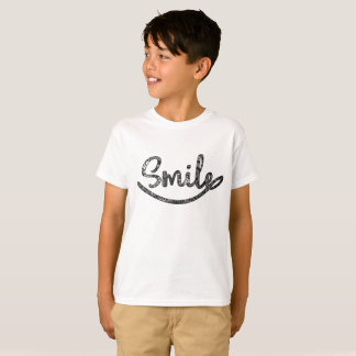 Black Gray White Typography Funny Kids Smile T-Shirt