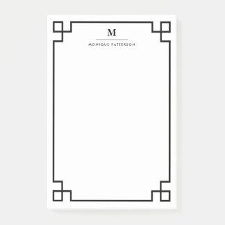 Black Greek Key Border Monogram Personalized Post-it Notes