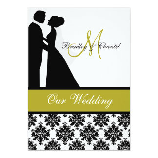 Black, Green, and White Couple Wedding Invitation