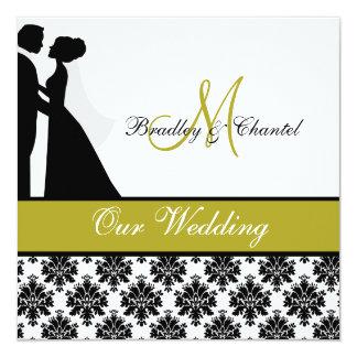 Black, Green, and White Couple Wedding Invitation
