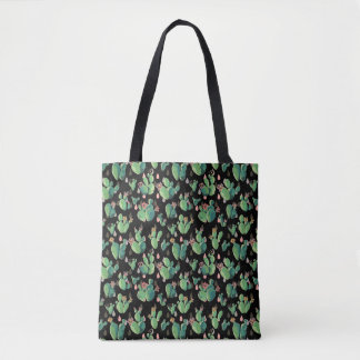 Black & Green Cactus Blooms Tote Bag