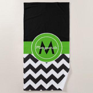 Black Green Chevron Beach Towel