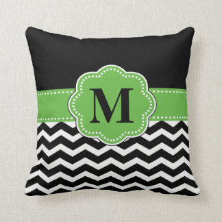 Black Green Chevron Pillow