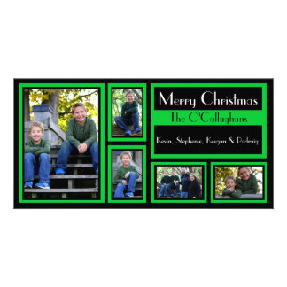 Black & Green Christmas Card - 5 Photos Photo Card