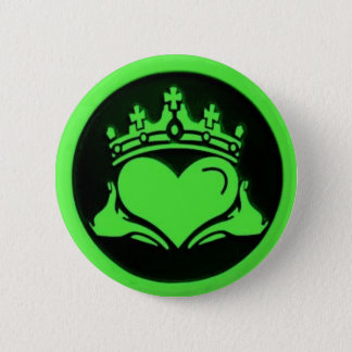 Black & Green Claddagh Round Pin