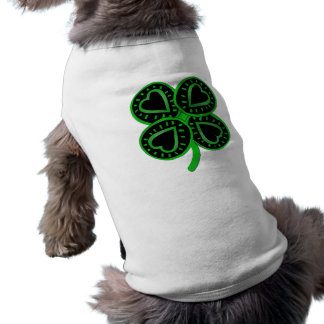 Black Green Clover Heart St Patrick Pets Shirt Sleeveless Dog Shirt