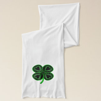 Black Green Clover with Heart White Scarf