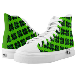 Black Green Clovers Heart St Patrick Green H Shoes Printed Shoes