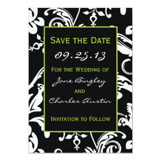 Black & Green Contemporary Damask Save the Date 13 Cm X 18 Cm Invitation Card