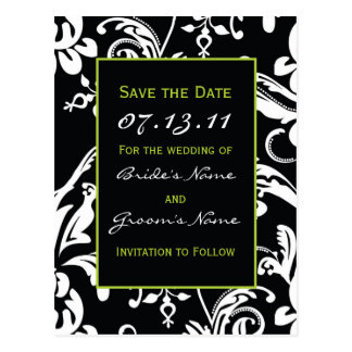 Black & Green Contemporary Damask Save the Date Postcard