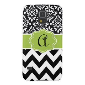 Black Green Damask Chevron Monogram Case For Galaxy S5
