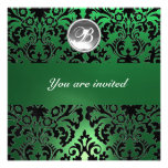 BLACK & GREEN DAMASK GEM STONE MONOGRAM white ice Personalized Announcements