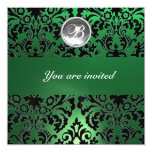 BLACK & GREEN DAMASK GEM STONE MONOGRAM white ice 13cm X 13cm Square Invitation Card