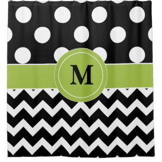 Black Green Dot Chevron Monogram Shower Curtain