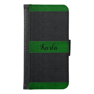 Black & Green Faux Stitched Leather Samsung Galaxy S6 Wallet Case