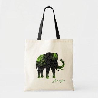 Black & Green Floral Elephant