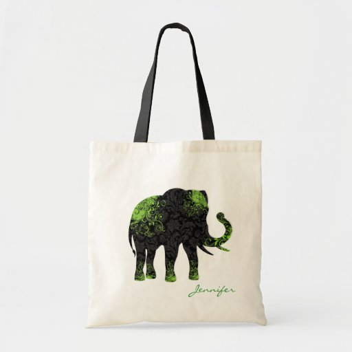 Black & Green Floral Elephant Bags