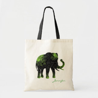 Black & Green Floral Elephant Tote Bag