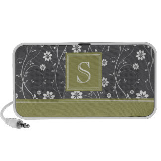 Black Green Floral iPhone Speakers