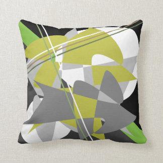 Black Green Gray White Abstract Throw Pillow