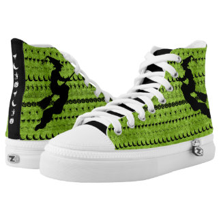 Black/Green Halloween Witch Fun Font Art Pattern High Tops