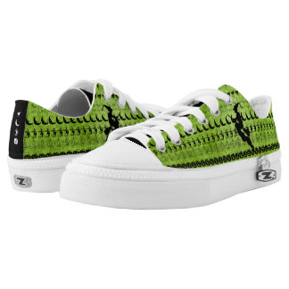 Black/Green Halloween Witch Fun Font Art Pattern Low Tops
