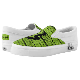 Black/Green Halloween Witch Fun Font Art Pattern Slip On Shoes