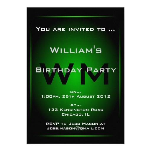 Black & Green Monogram Sci-fi - Invitation