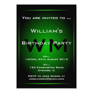 Black & Green Monogram Sci-fi - Invitation