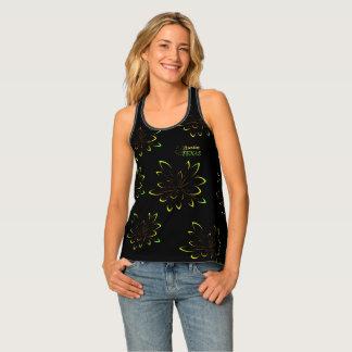 Black Green Neon Flower Austin Texas Destination Singlet