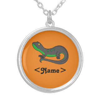 Black & Green Newt with Spots Round Pendant Necklace