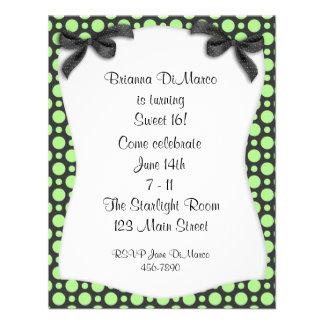 Black Green Polka Dot Invitation