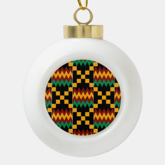 Black, Green, Red, and Yellow Kente Cloth Ceramic Ball Christmas Ornament
