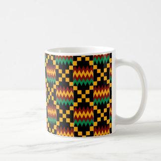Black, Green, Red, and Yellow Kente Cloth Coffee Mug