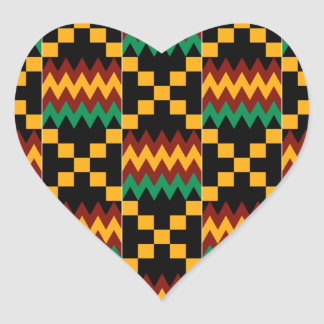 Black, Green, Red, and Yellow Kente Cloth Heart Sticker