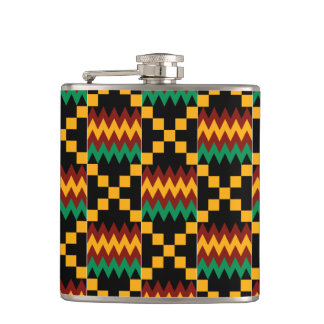 Black, Green, Red, and Yellow Kente Cloth Hip Flask