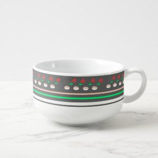 Black,Green, Red angled Flower Soup Mug
